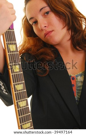 woman holding a guitar, isolated on white. - stock photo