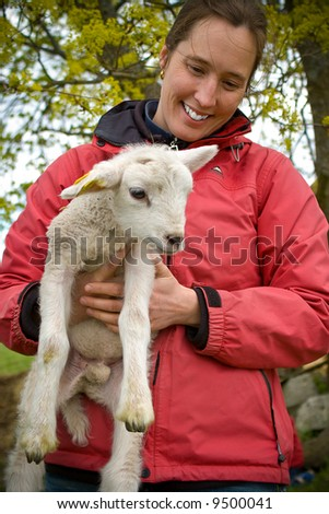 woman holding a little lamb - stock photo