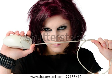 Woman holding a mouse cord as an assassin