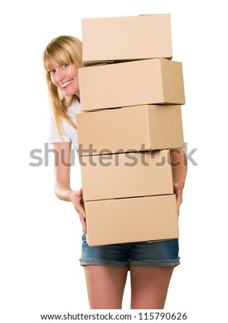 woman holding a pile of boxes against a white background