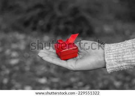 Woman holding a red gift box in black and white effect - stock photo