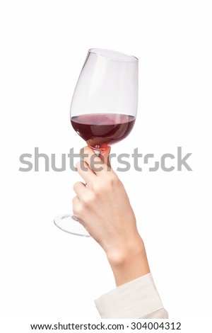 Woman holding a wine glass on white background - stock photo