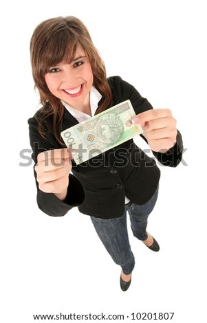 Woman Holding Banknote - stock photo