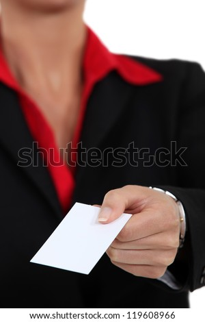Woman holding blank business card - stock photo
