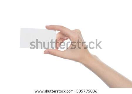 Woman holding blank business card in hand