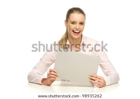 Woman holding blank paper - stock photo