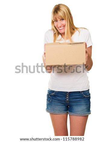Woman Holding Cardboard Package On White Background - stock photo