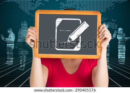 Woman holding chalkboard over face against white silhouettes on black background