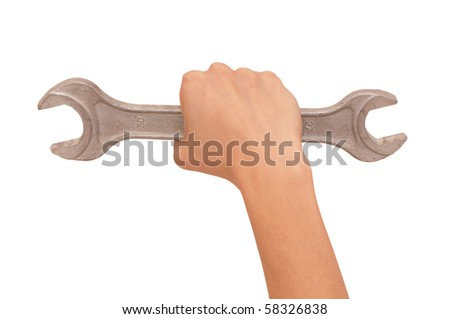 woman holding chrome vanadium spanner in the hand