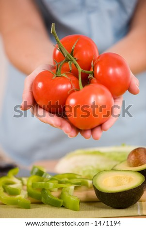 Woman holding cluster of vine ripe organic tomatoes. - stock photo