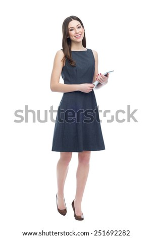Woman holding digital tablet - stock photo