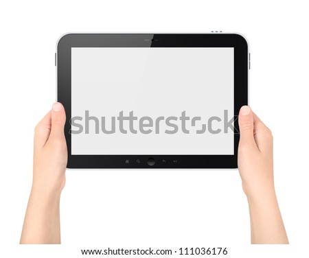 Woman holding digital tablet computer with blank screen. High quality and very detailed realistic illustration of android digital tablet. Isolated on white.