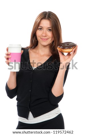 Woman holding donut and coffee in hand. Morning breakfast food concept isolated on a white background