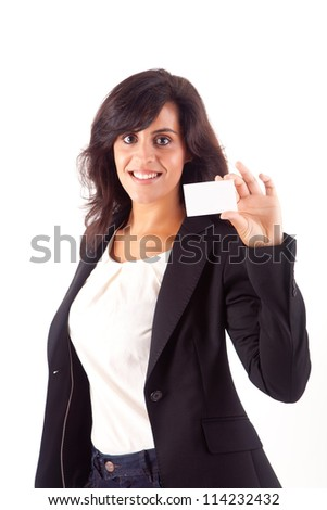 Woman holding empty white card, isolated over white - stock photo