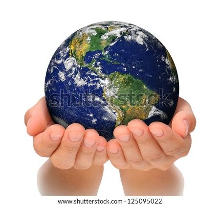 Woman holding globe on her hands, South and North America. Elements of this image furnished by NASA - stock photo