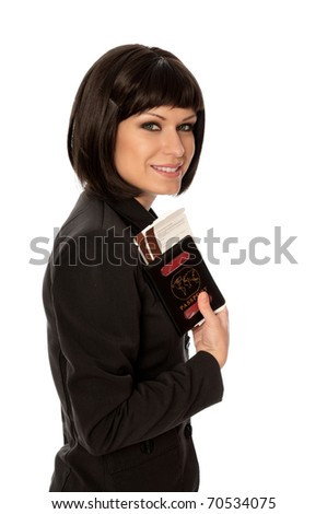 Woman holding in the hand passport for business trip - stock photo