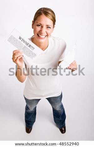 Woman holding innernotification - stock photo