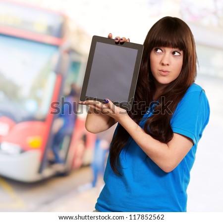 Woman Holding Ipad, Outdoor - stock photo