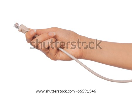 woman holding LAN cord in the hand