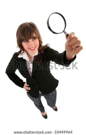Woman Holding Magnifying Glass - stock photo
