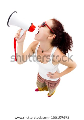 Woman holding megaphone and yelling, fisheye lens, studio shot - stock photo