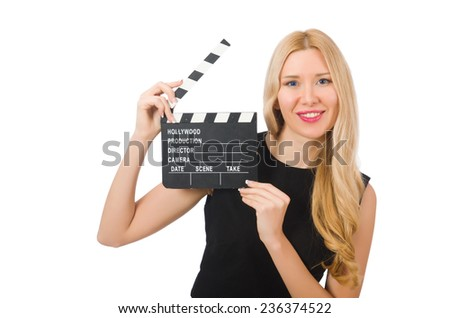 Woman holding movie clapboard isolated on white - stock photo