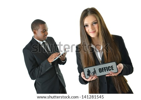 Woman holding office sign