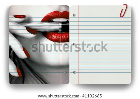 Woman holding pen in her mouth and clear notepad - stock photo