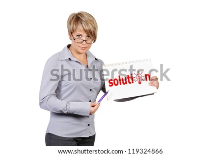 Woman holding poster with solution - stock photo