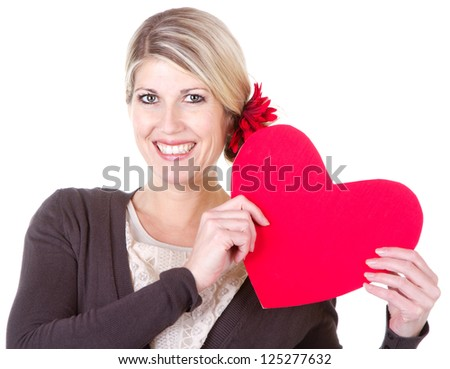 woman holding red heart close-up isolated on white - stock photo