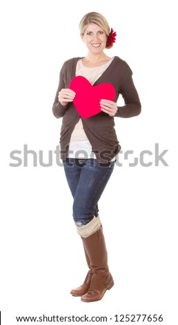 woman holding red heart full length isolated on white - stock photo