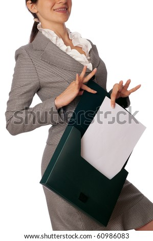 Woman holding suitcase with documents in the hands - stock photo