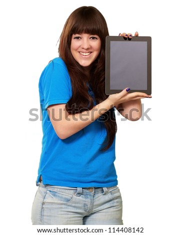 Woman Holding tablet Isolated On White Background