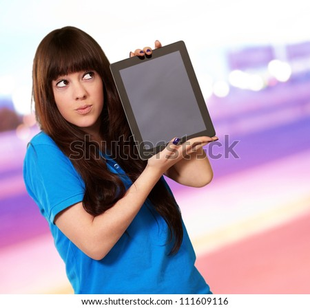 Woman Holding Tablet, Outdoor - stock photo