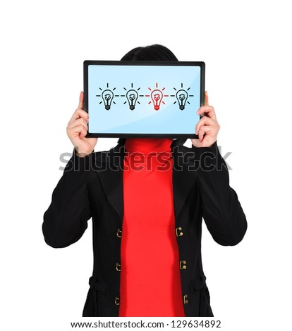 woman holding touch pad with idea concept - stock photo