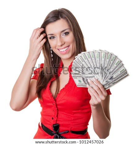Woman holding 2000 US dollars - loan concept