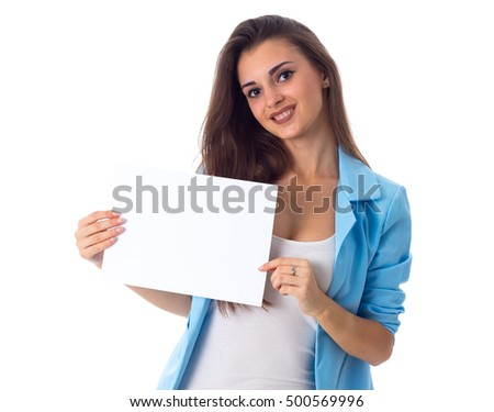 Woman holding white sheet of paper
