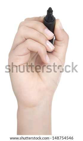 woman holds a pen and writes on the screen, add your own text, charts, drawings etc.  - stock photo