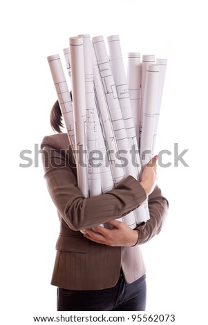 Woman holds a rolled-up drawings isolated - stock photo