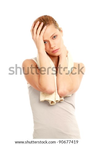 Woman holds head with pain isolated on white background