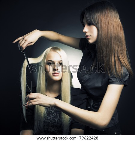 Woman in a beauty salon. Conceptual photo - stock photo