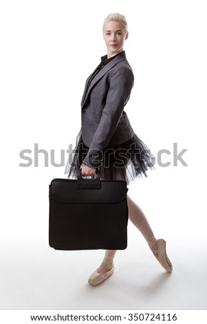 Woman in a business suit jacket and a tutu, carrying a brief case