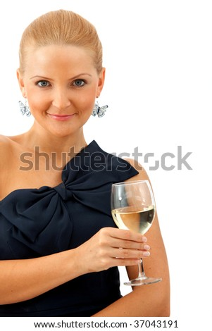 woman in a cocktail dress holding a glass of wine isolated - stock photo