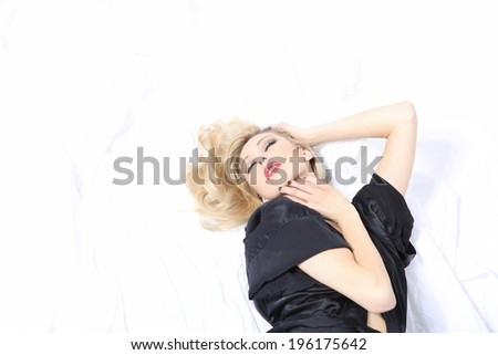 woman in a  dressing gown - stock photo