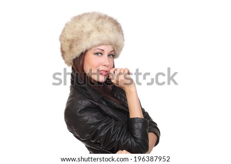 woman in a fur hat - stock photo