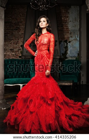 Woman in a Luxurious Red Dress
