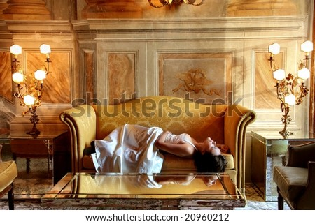 woman in  a luxury interior