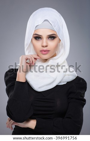 Woman in a Muslim scarf hijab