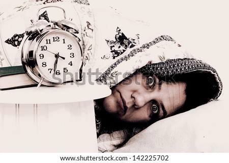 Woman in a nightmare - stock photo