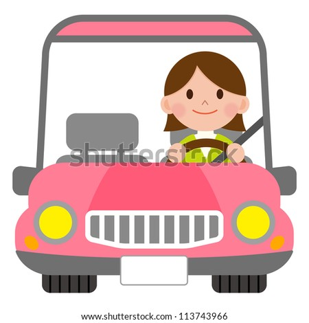 Woman in a pink convertible - stock photo